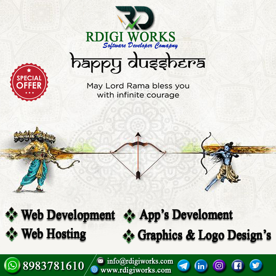 Best wishes to Happy Dussehra. Make your own business website and android apps.. Today Special offers..